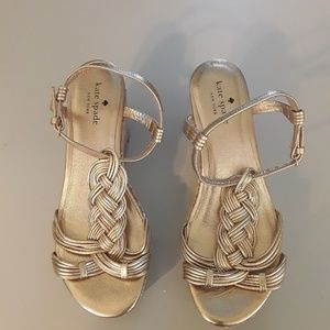 Kate Spade  Becca Gold Leather Cork Wedge Sandal 7